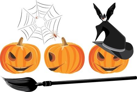 stocky: Halloween pumpkins isolated on the white Illustration