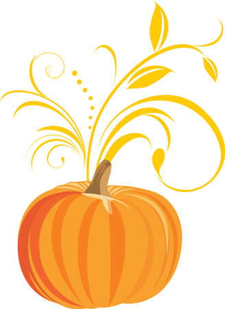 Pumpkin with decorative sprig Stock Vector - 10724893