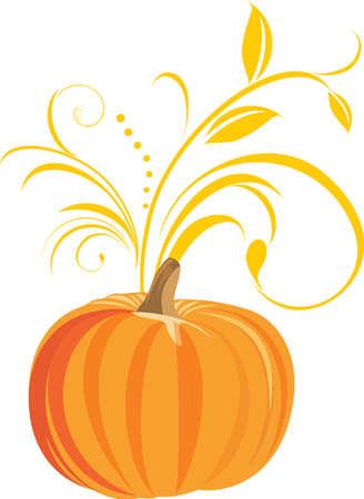 Pumpkin with decorative sprig Stock Vector - 10724893