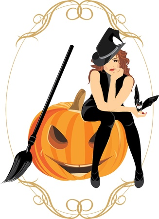 Sitting witch on the halloween pumpkin. Festive frame Vector