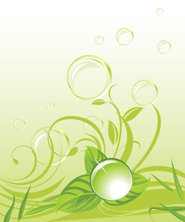 pellucid: Drop with leaves and bubbles on the floral background