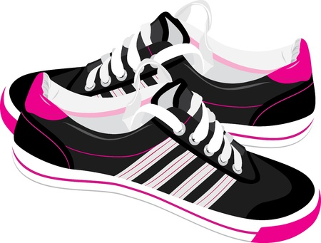 sports shoe: Pair of black sneakers