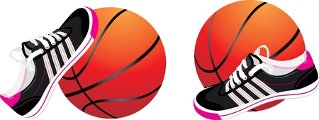 Basketball ball and trainers shoes Vector