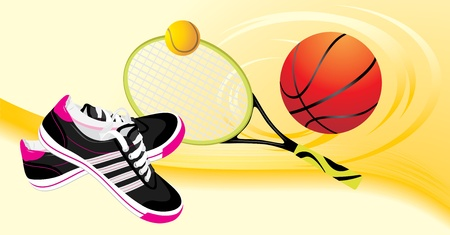soccer shoe: Trainers shoes and tennis racket with balls. Sporting banner