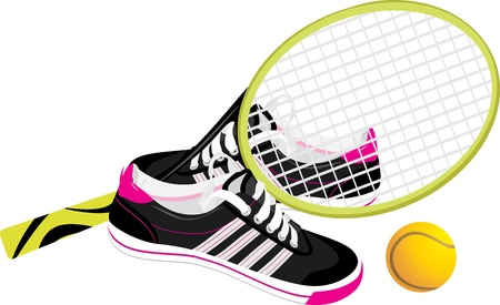 tennis shoes: Tennis racket with trainers shoes