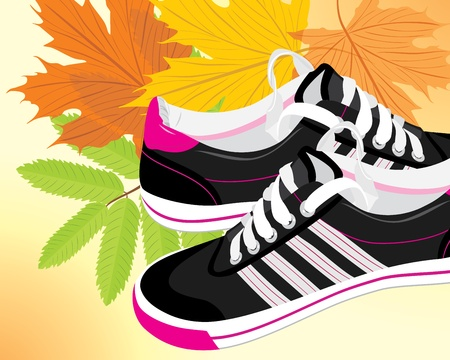 Pair of black sneakers on the autumn background Vector