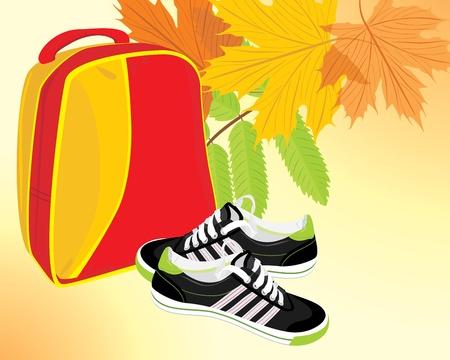 zapatos escolares: Un par de zapatillas de deporte y una mochila en el fondo del otoño