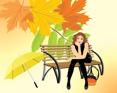 autumn woman: Sitting woman with umbrella on the wooden bench on the autumn background