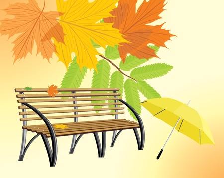 Wooden bench and umbrella on the autumn background Illustration