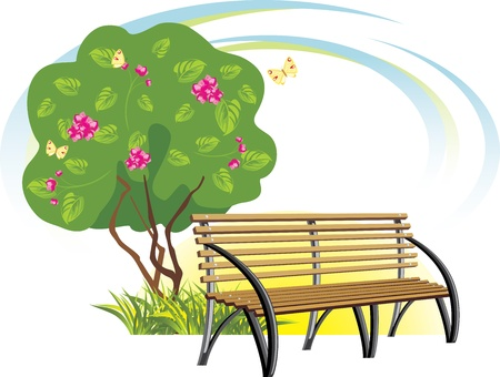 Wooden bench and flowering tree. Spring concept Vector