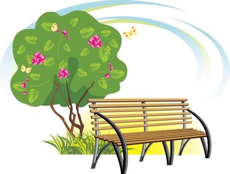 furniture design: Wooden bench and flowering tree. Spring concept Illustration