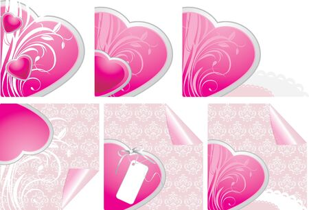 halved: Decorative hearts. Elements for design of Valentines cards