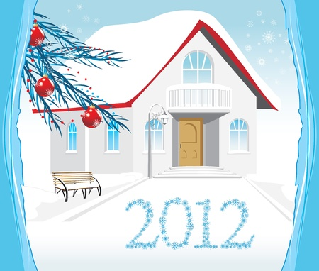 Winter house. Christmas card Vector