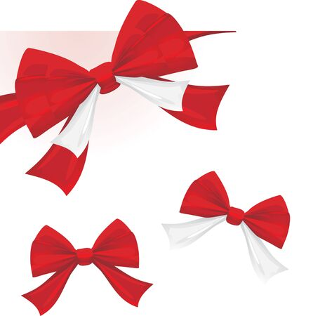 Three red bows isolated on the white Vector