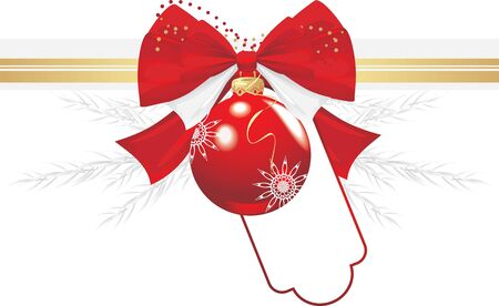 decorative item: Red Christmas ball with bow and tinsel. Festive border Illustration