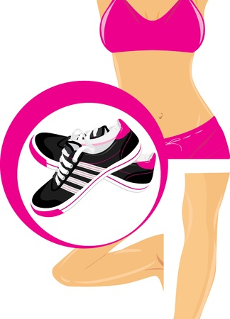 sporting activity: Pair of black sneakers and female body parts Illustration