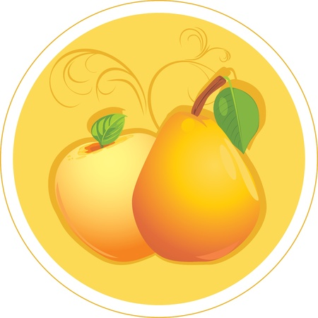 Apple and pear. Sticker Stock Vector - 10941848