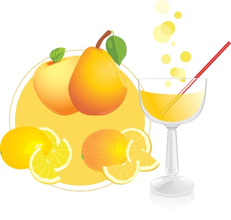 Fruits and glass with juice Stock Vector - 10977734