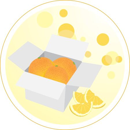 Box with oranges. Sticker Stock Vector - 10982498