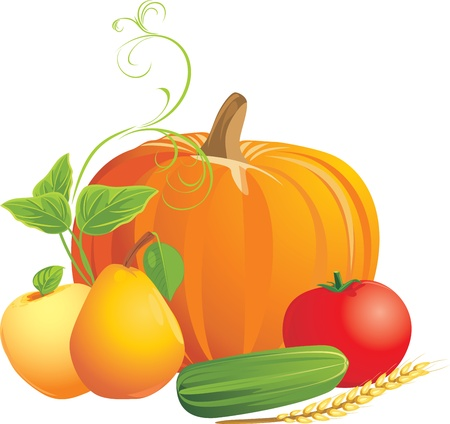 pumpkin tomato: Vegetables and fruits isolated on the white