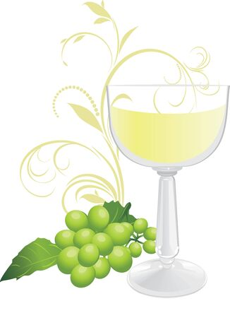 grapes in isolated: Glass and sprig of green grape