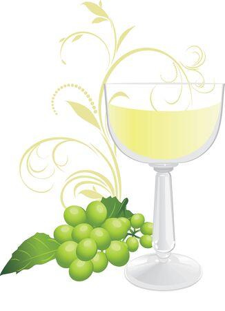 a sprig: Vidrio y un ramito de uva verde