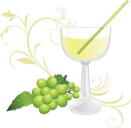 a sprig: De vidrio con un c�ctel y un ramito de uva verde Vectores
