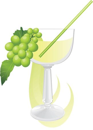 Glass with cocktail and green grape Stock Vector - 10982507