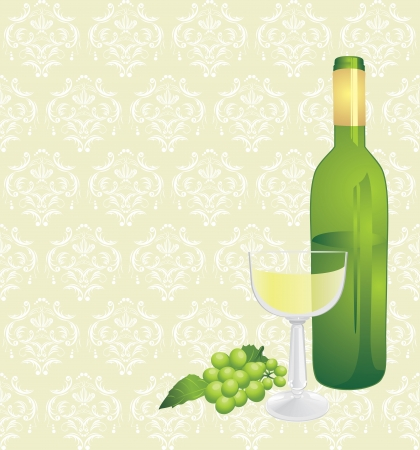 Wine bottle, glass and green grape on the decorative background Stock Vector - 10982508