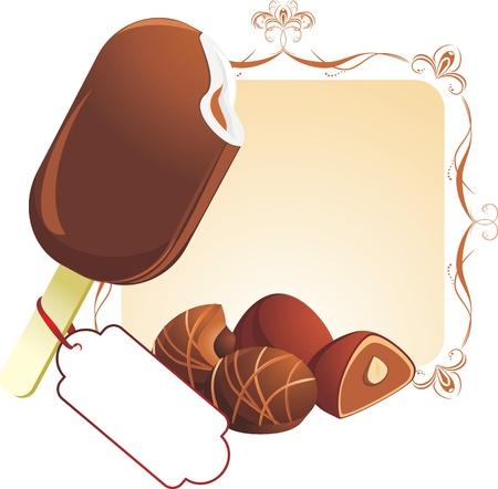 chocolate ice cream: Cr�me glac�e au chocolat et des bonbons Illustration