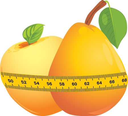 Apple and pear with measuring tape Vector