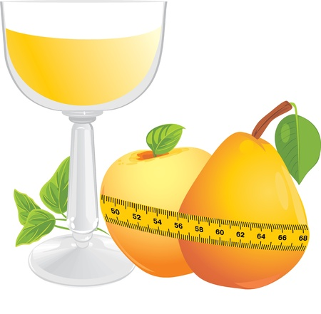 Glass with juice, fruits and measuring tape Stock Vector - 11125404