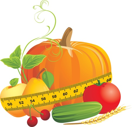 measuring tape: Vegetables and fruits with measuring tape