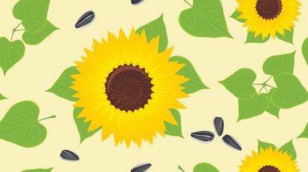 Sunflowers and pips. Decorative background Vector