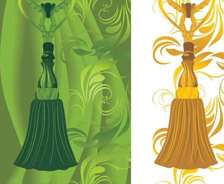 fringe: Green and golden tassel on the decorative background Illustration
