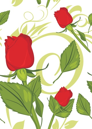 sprig: Red roses on the decorative background. Pattern for design