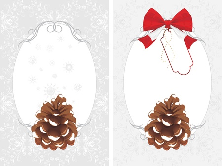 pine cone: Frame with pinecone on the decorative background. Two cards Illustration