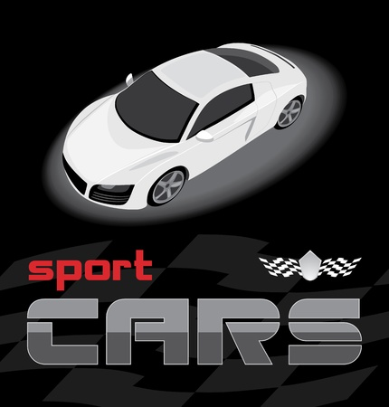 White sport car. Icon for design Stock Vector - 11275283