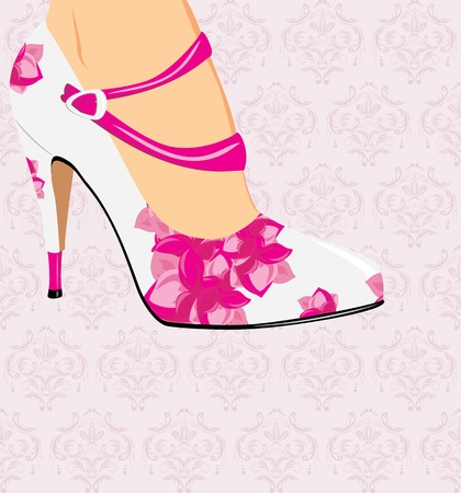 Elegant stylish female shoes on the decorative background Illustration