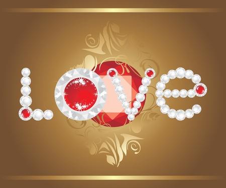 strass: Lieben. Inschrift mit strasses und gl�nzend ruby