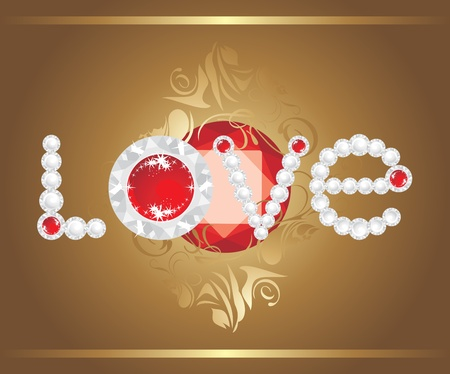 strass: Love. Inscription with strasses and shining ruby Illustration