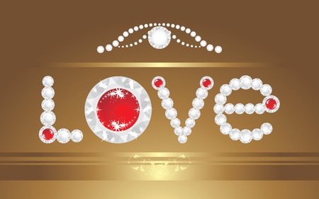 Love. Inscription with strasses on the decorative background Vector