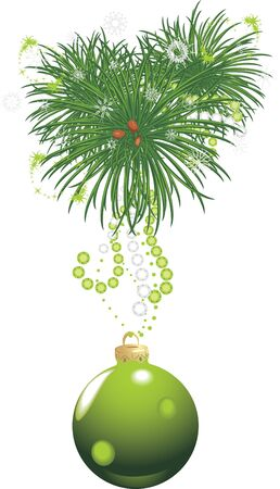 strass: Christmas tree with green ball and tinsel isolated on the white