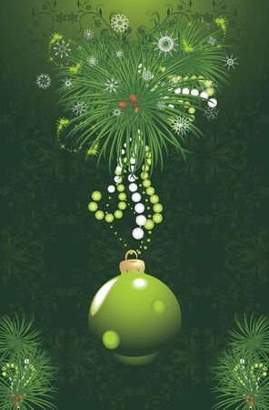 Christmas tree with green ball and tinsel. Festive card Vector