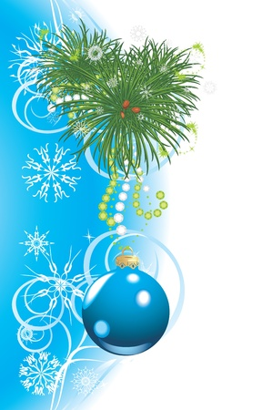 strass: Christmas tree with blue ball and snowflakes. Festive card