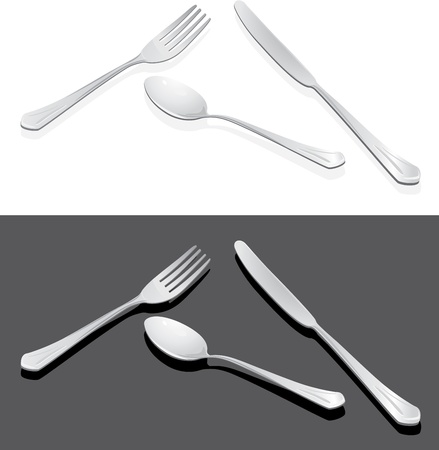 Spoon, fork and knife isolated on the white and dark grey