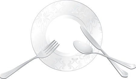 cooking utensil: Empty plate with spoon, fork and knife