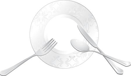 cubiertos de plata: Plato vacío con una cuchara, tenedor y cuchillo