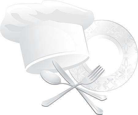 ustensiles de cuisine: Le chef chapeau, la plaque avec une cuill�re, fourchette et couteau