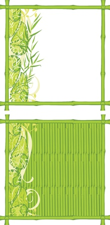 Two decorative frames from a green bamboo Vector